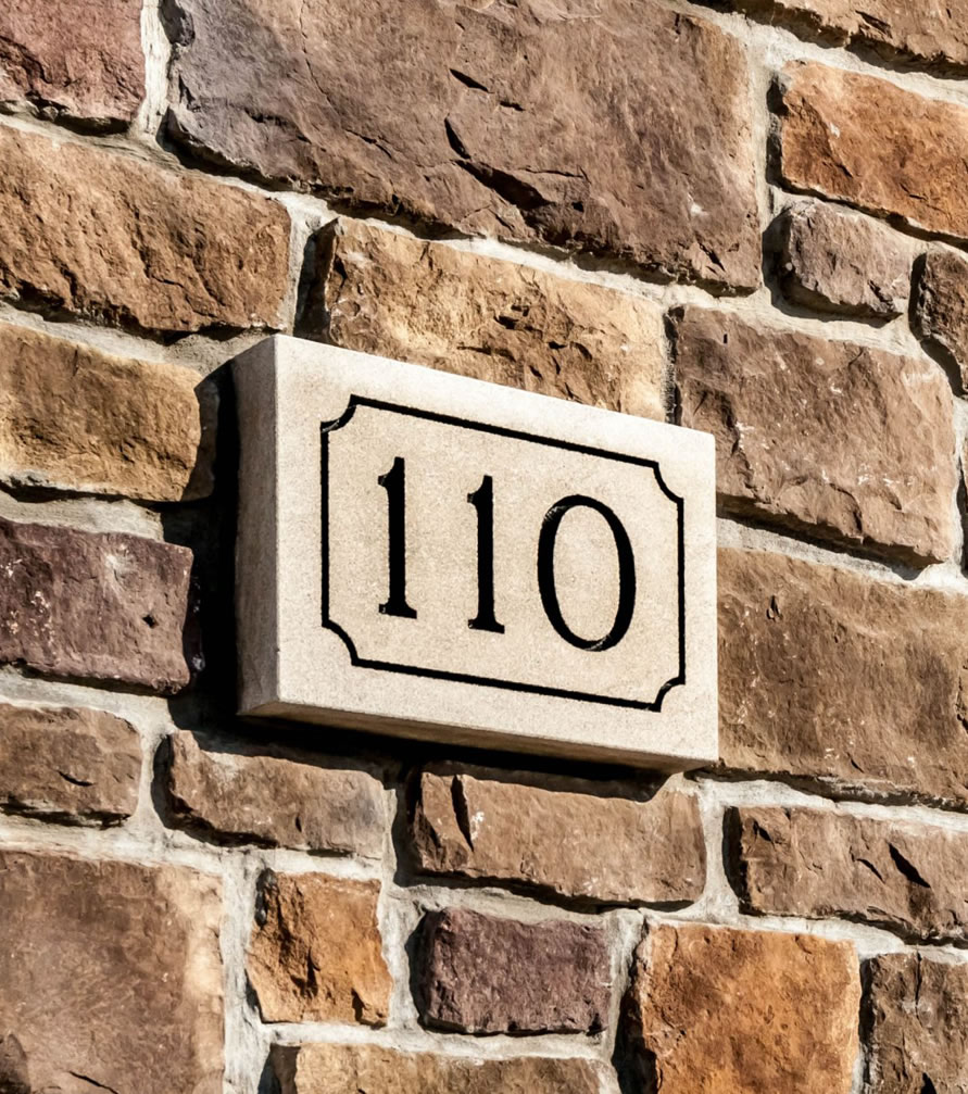 Stone Exterior Wall with House Number